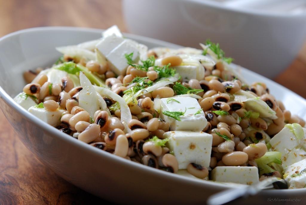 Augenbohnensalat mit Feta und Fenchel